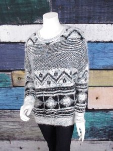 Paper Crane Anthropologie Tribal Chevron Fuzzy Sweater