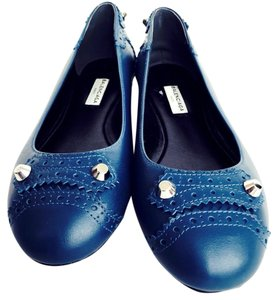 Balenciaga Leather Silver Studded Ballet New Designer Studded Size 7 Blue Flats