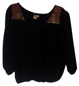 Anthropologie Anthrofave Sofie Max Sequin Top black