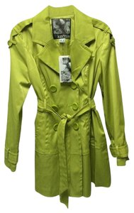 Kensie Trench Coat Bright Fitted Lime Jacket