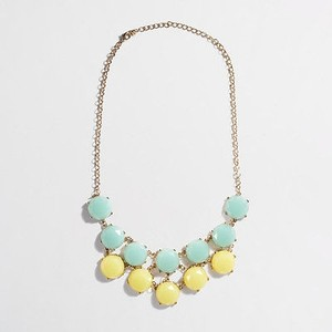 J.Crew Banana Republic Green Yellow Tiered Stone Bib Necklace Style 03045