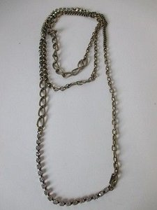 Gerard Yosca Gerard Yosca Antique Brass Link Crystal Long Layer Necklace 159
