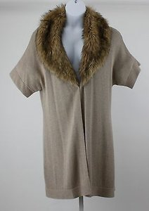 Chico's Nwt Anya Detachable Faux Fur Collar Long Cardigan B31 Sweater