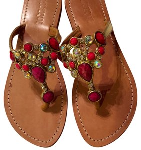 Mystique Boutique Gold/Fuschia Sandals