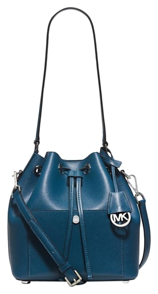 2a6e04e1ae777 Michael Kors New Medium Greenwich Bucket Steel Blue Light Sky Silver ...