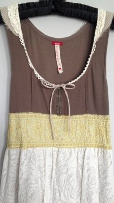 Free People short dress taupe yellow cream on Tradesy