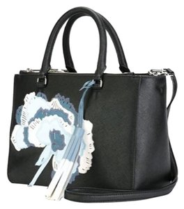 Tory Burch Satchel in Black White Blue