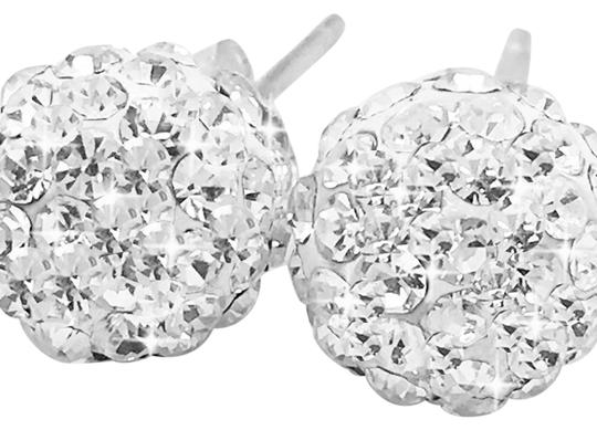 Swarovski Elements New 8mm Swarovski Element Round Crystal Pave Disco Ball Sterling Silver Earrings