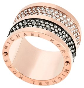 Michael Kors NWT MICHAE KORS Rose Gold tone Black Pave Crystals Barrel Ring MKJ49747917 SIZE 7