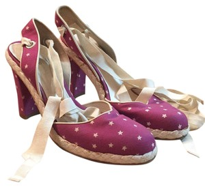 Marc Jacobs Made In Italy Size 8 Ballet Lace Ups Espadrille Raspberry Pumps