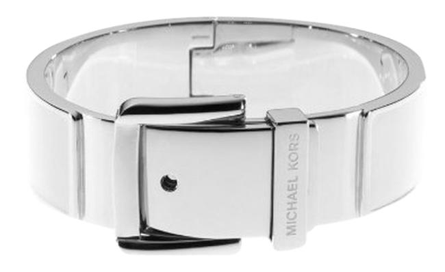 Item - White Silver Epoxy Enamel Buckle Bangle Bracelet