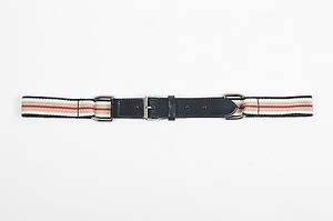 Burberry Burberry London Black Taupe Red Leather Woven Textile Striped Belt