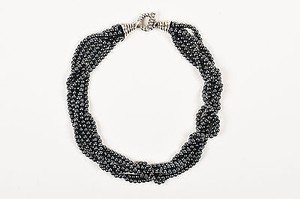 Tiffany & Co. Tiffany Co. Hematite Sterling Silver Twisted Multi Strand Beaded Necklace