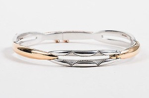 Tacori Tacori Sterling Silver 18k Rose Gold Promise Lock Key Bangle Bracelet