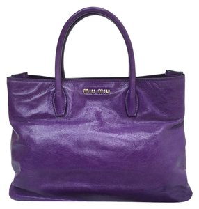 Miu Miu Leather Satchel in purple