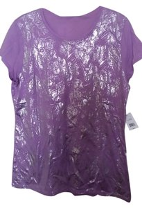 Tahari Lilac Lavender Short Sleeves Silver Design Large Cotton T Shirt LAVENDER LILAC