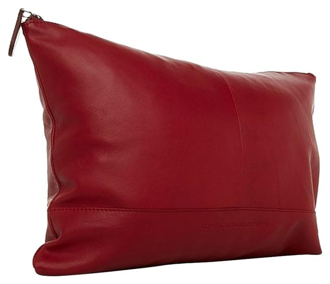 Item - Clever Carriage Company Red Clutch Genuine Leather Large Travel Pillowcase