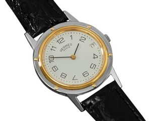 Hermès Hermes Mens Clipper 2-Tone Quartz Watch - Stainless Steel & 18K Gold Plated