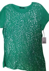 Tahari Short Sleeves Cotton T Shirt GREEN