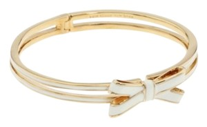 Kate Spade NWT KATE SPADE DOUBLE BOW HINGE BANGLE BRACELET CREAM GOLD W DUST BAG