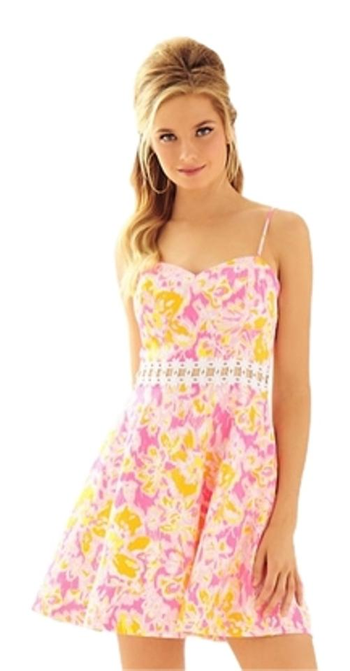 e85fb44efcf Lilly Pulitzer Kir Royal Pink Ooh La La 2016 Lenore Lace Cut-out New Casual  Dress
