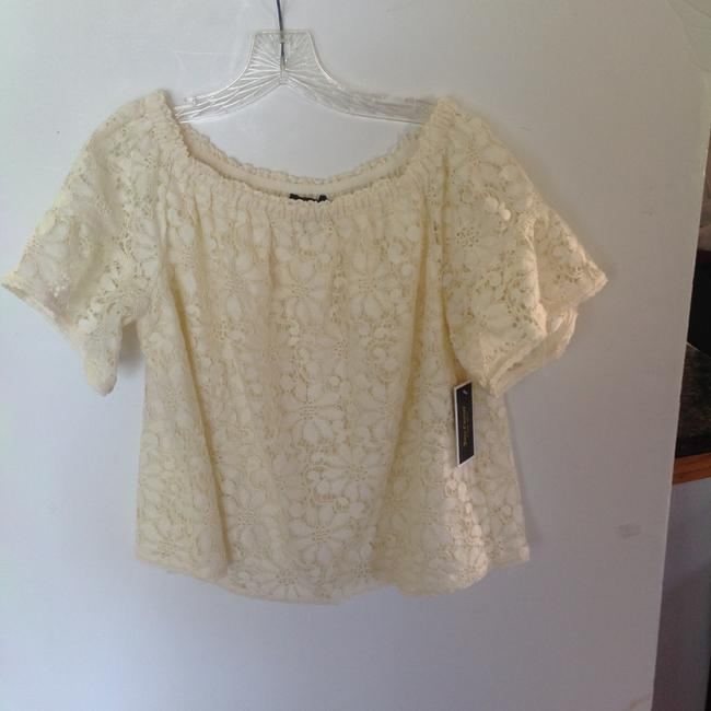 Juicy Couture Lace Off The Shoulder Peasant Style Top classic white Image 1