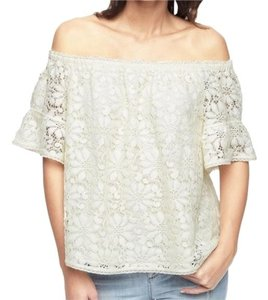 Juicy Couture Lace Off The Shoulder Peasant Style Top classic white