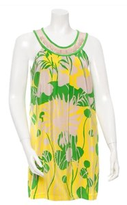 Tibi short dress Green, Yellow, and Taupe Silk Preppy Spring on Tradesy