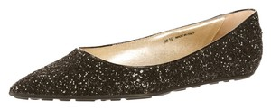 Jimmy Choo Glitter Embellished Pointed Toe Glenda Hardware Black, Gold Flats