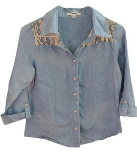 Papaya Denim Button Down Lace Half Length Sleeve Top blue