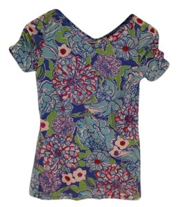 Lilly Pulitzer Bright Preppy Spring T Shirt Blue, Red, Magenta, Gree, White