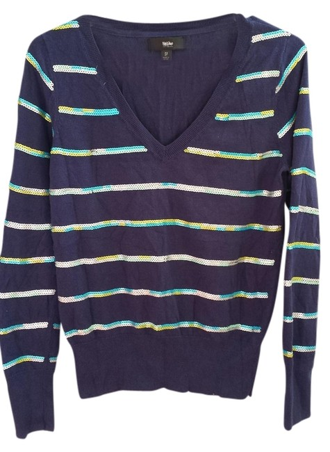Other Longsleeve Sequin Striped Top blue