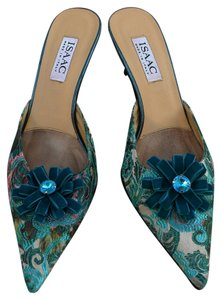 Isaac Mizrahi Brocade Leather Velvet Bow Blue Mules
