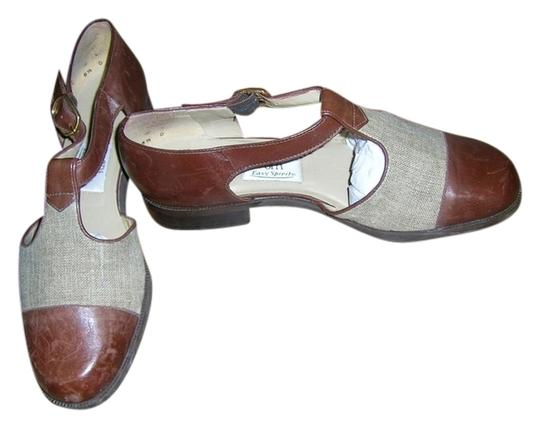 Spa Easy Spirit Leather Tweed Leather Linen Twill Brown Flats