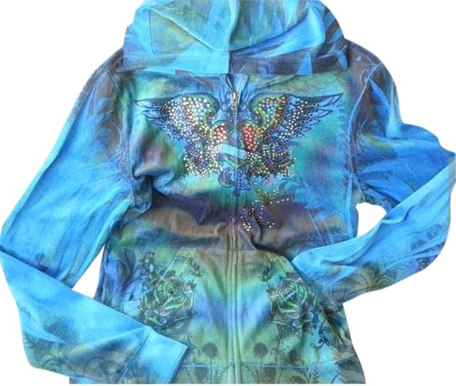 Platinum Plush Turquoise Hoodie Studded Velour Black Jacket