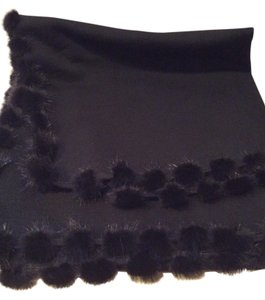 None 100% Wool Wrap With Genuine Mink Pom Pom Border