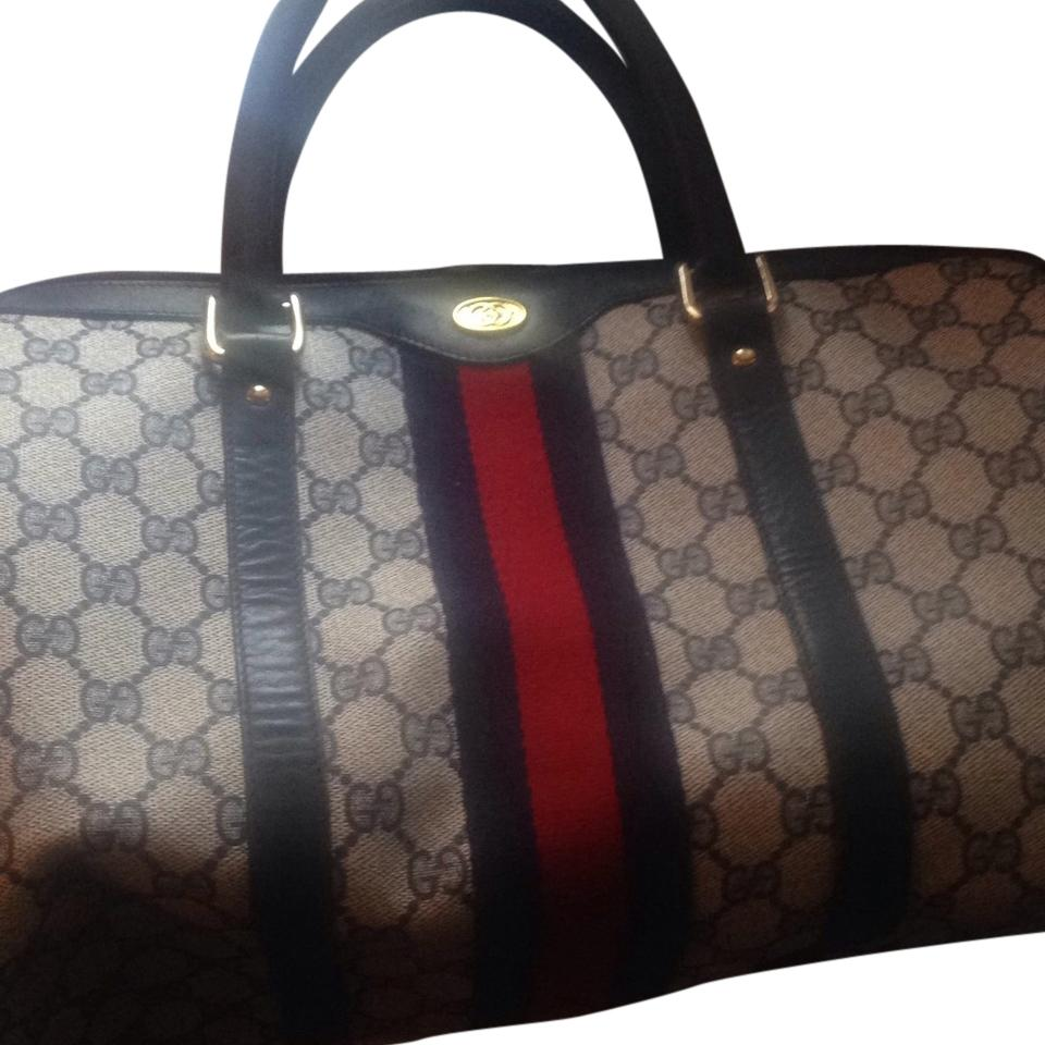 bc1c7ff51a28 Gucci Speedy Boston Bag/ 30 In Size Navy Canvas Leather Trim Satchel ...