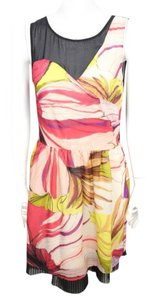 Hype short dress Black Pink Yellow Silk Sheer Finge Seather on Tradesy