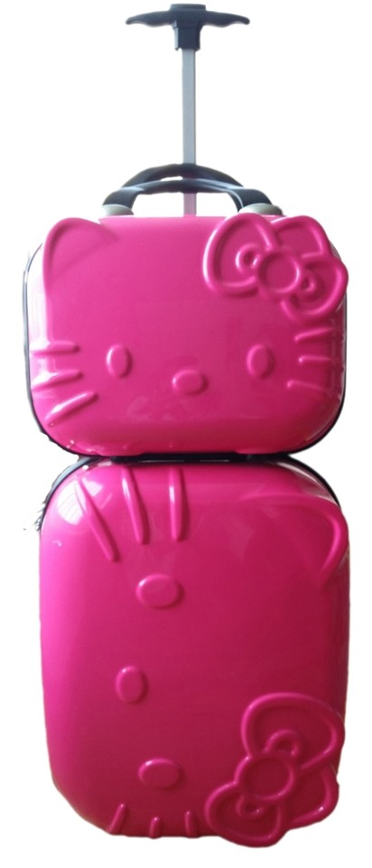 5464094fb Hello Kitty Carry On Lunch Makeup Luggage Hot Pink Travel Bag Image 0 ...