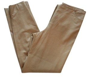 Escada Vintage Leather Straight Pants Tan