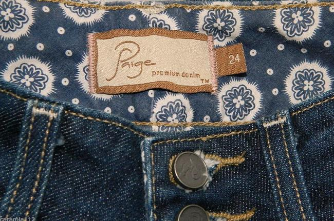 Paige Hidden Hills Size 24 New Boot Cut Jeans-Dark Rinse Image 4