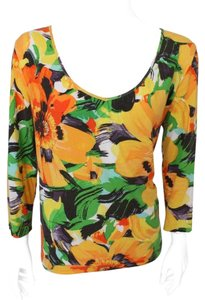 Chico's Size 1 Floral T Shirt Orange