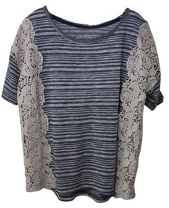 Free People Crop Striped Lace Cut-out T Shirt Blue