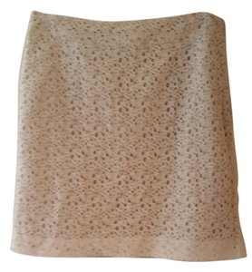 Ann Taylor LOFT Lace Fitted Summer Date Night Night Out Mini Skirt Cream