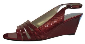 Bandolino Patent Leather Wedge Heel Berry Red Sandals