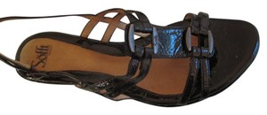 Eürosoft by Söfft Patent Leather Wedge Heel Buckles Brown Sandals