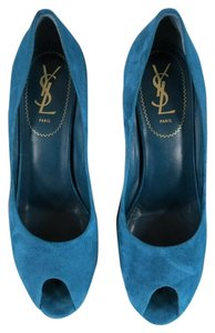 YSL Teal Pumps
