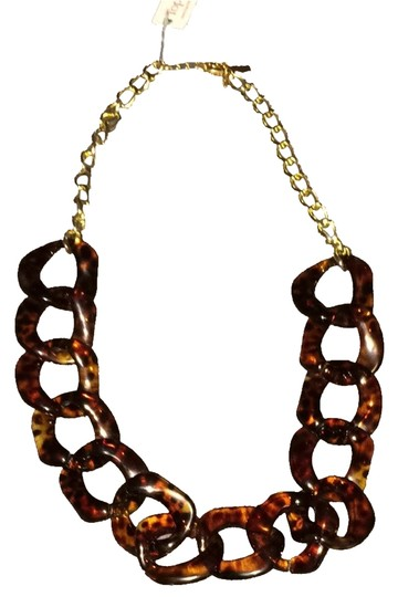 top it off Fabulous Faux Tortoise Shell And Gold Necklace