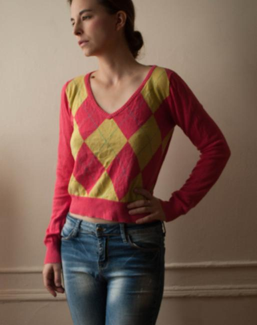 Zara Geometric Knit Knitted Vintage Style Bright Lemon Fall Spring Argyle Sweater