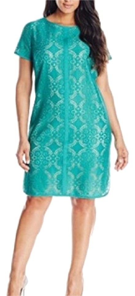 Adrianna Papell Bright Minty Green Medallion Pattern Lace Shift Short Cocktail Dress Size 16 Xl Plus 0x 77 Off Retail